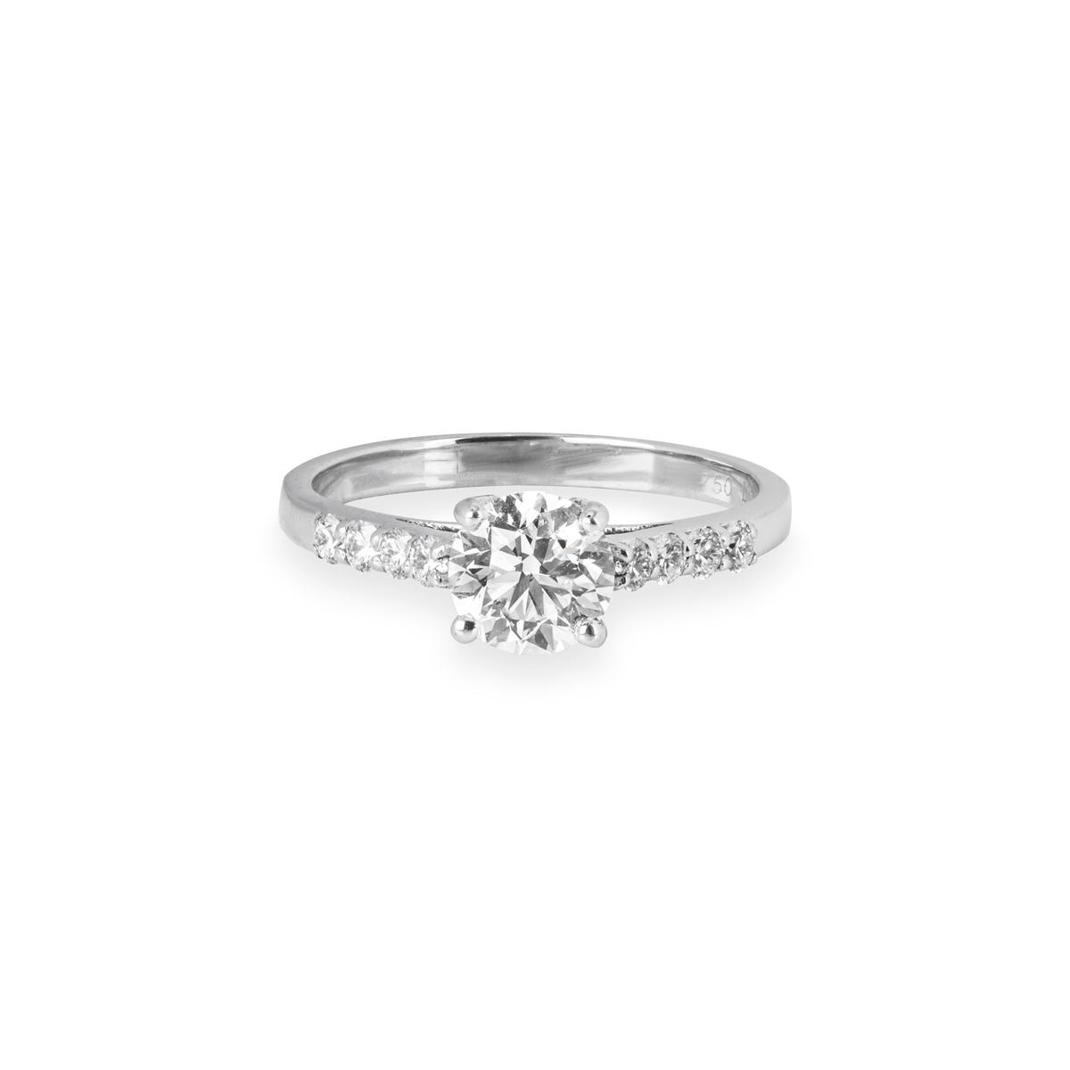 18k White Gold Round Brilliant Cut Diamond Ring 0.94ct H-I/VS1